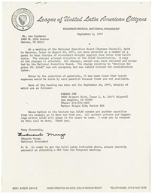 Primary view of object titled '[Letter from Eduardo Morga to Leo Cardenas - 1977-09-02]'.