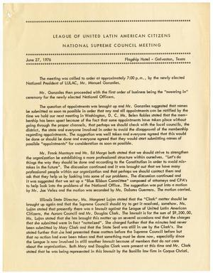 Primary view of object titled '[Minutes from the LULAC National Supreme Council Meeting - 1976-06-27]'.