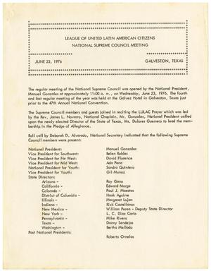 Primary view of object titled '[Minutes from the LULAC National Supreme Council Meeting - 1976-06-23]'.