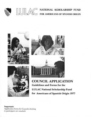 Primary view of object titled '[Council Application for the LULAC National Scholarship Fund - 1977]'.