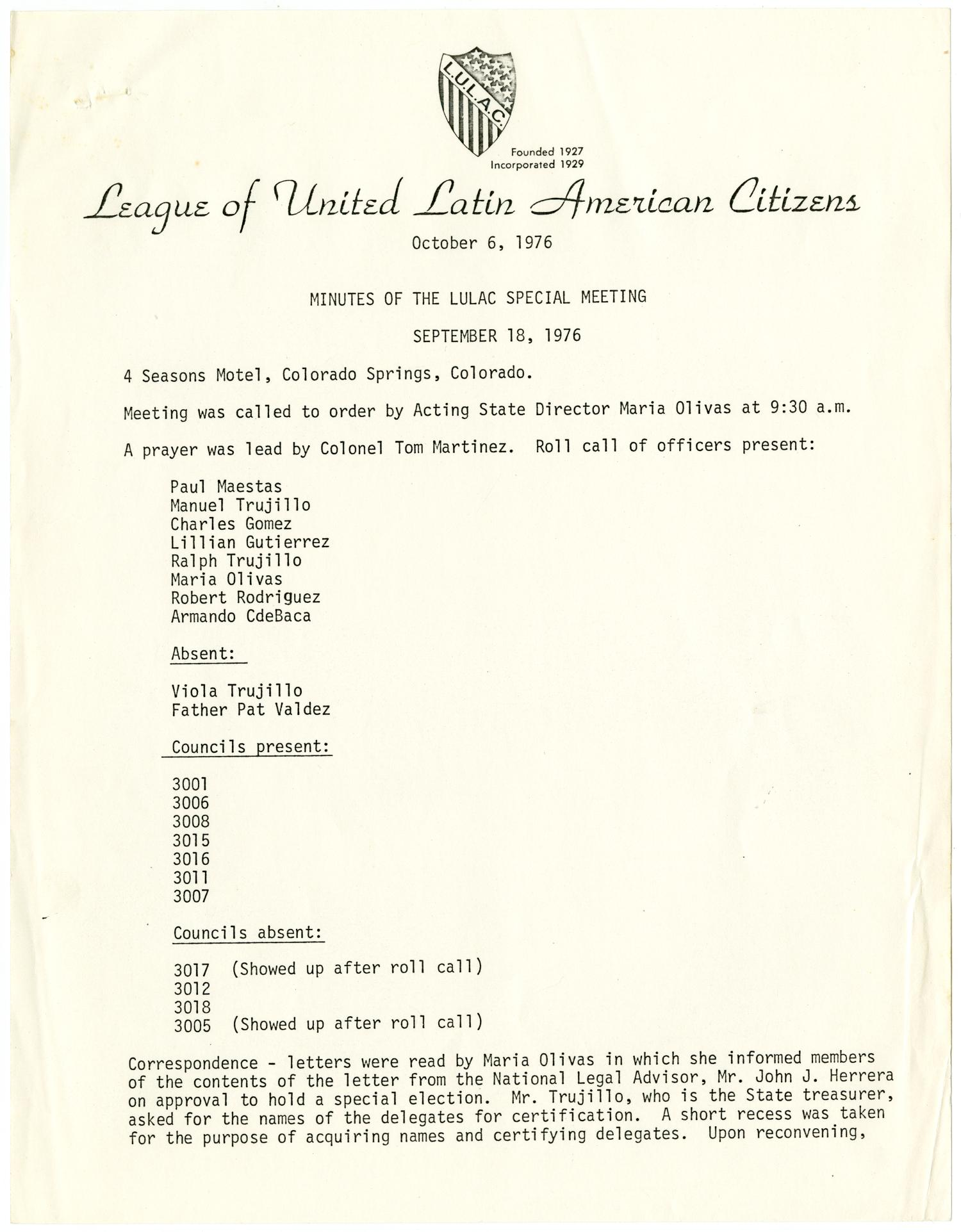 [Minutes from the LULAC Special Meeting - 1976-09-18]                                                                                                      [Sequence #]: 1 of 8