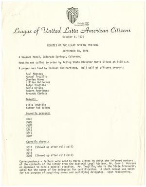 Primary view of object titled '[Minutes from the LULAC Special Meeting - 1976-09-18]'.