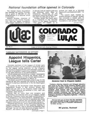 Primary view of object titled '[Colorado LULAC News, Volume 1, Number 2, April 1977]'.