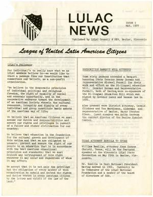 Primary view of object titled '[Wisconsin LULAC News, Volume 1, Issue Number 1, May 1977]'.