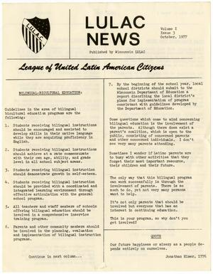 Primary view of object titled '[Wisconsin LULAC News, Volume 1, Issue Number 3, October 1977]'.