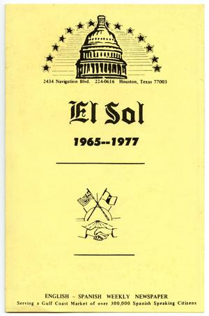 Primary view of object titled '[El Sol of Houston 12th Anniversary Dinner Program, December 3, 1977]'.