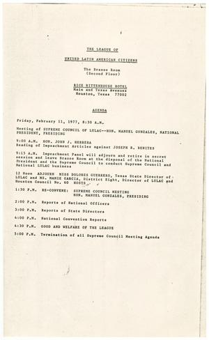 Primary view of object titled '[Agenda of the LULAC Impeachment Proceedings, February 11-12, 1977]'.