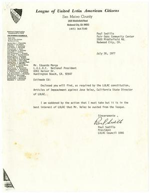 Primary view of object titled '[Letter from Paul Sedillo to Eduardo Morga - 1977-07-26]'.