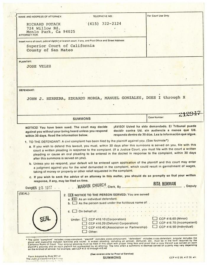 legal documents in support of a lawsuit filed by joe velez vs john