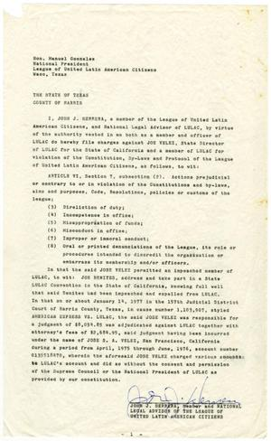 Primary view of object titled '[Filing of Charges by John J. Herrera against Joe Velez - 1978-06-10]'.