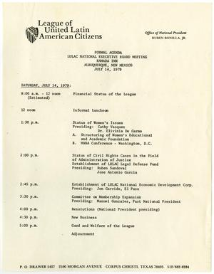 Primary view of object titled '[Agenda of the LULAC National Executive Board Meeting, July 14, 1979]'.