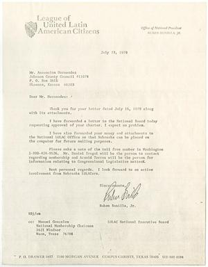 Primary view of object titled '[Letter from Ruben Bonilla, Jr., to Asencion Hernandez - 1979-07-23]'.
