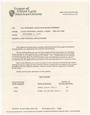 Primary view of object titled '[Memorandum from LULAC National Office to LULAC National Executive Board - 1979-09-05]'.