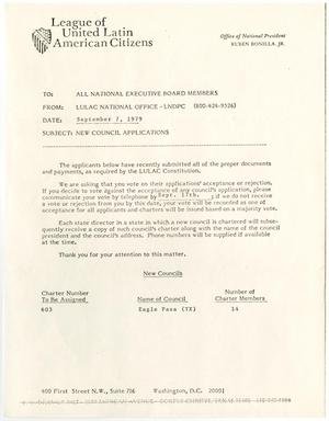 Primary view of object titled '[Memorandum from LULAC National Office to LULAC National Executive Board - 1979-09-07]'.