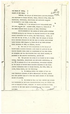 Primary view of object titled '[Articles of Incorporation, League of United Latin American Citizens - 1930-05-04]'.