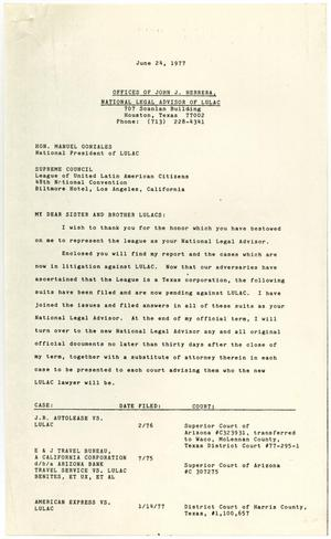 [Letter from John J. Herrera to LULAC Supreme Council members - 1977-06-24]