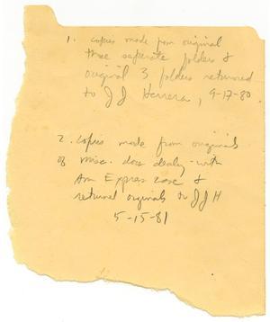 [Note regarding copies in file]