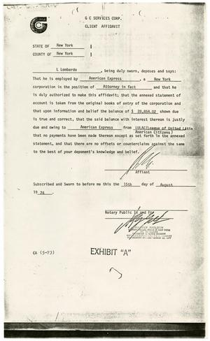 Primary view of object titled '[Client Affidavit, L. Lombardo, American Express vs. LULAC - 1976-08-15]'.