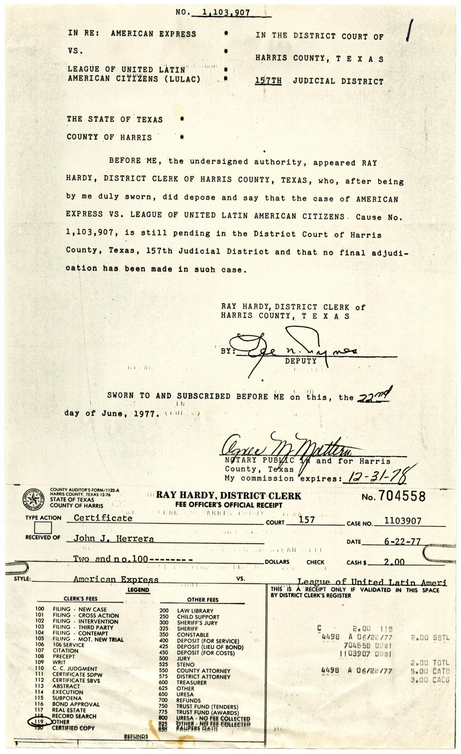 [Affidavit and Certificate, American Express vs. LULAC - 1977-06-22]                                                                                                      [Sequence #]: 1 of 2