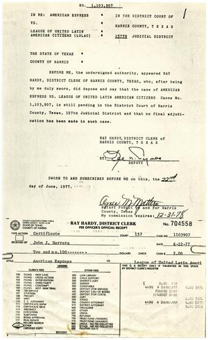 Primary view of object titled '[Affidavit and Certificate, American Express vs. LULAC - 1977-06-22]'.