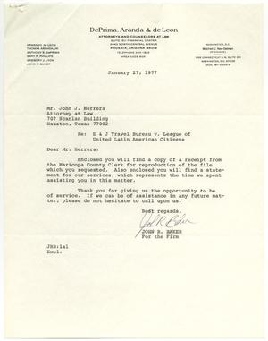 Primary view of object titled '[Letter from John R. Baker to John J. Herrera - 1977-01-27]'.