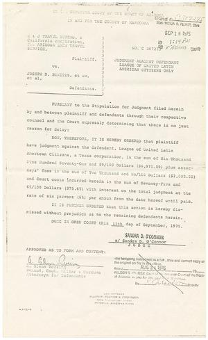 Primary view of object titled '[Judgement Against Defendant, E & J Travel Bureau dba Arizona Bank Travel Service vs. LULAC, 1975-09-18]'.