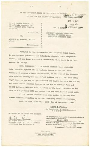 [Judgement Against Defendant, E & J Travel Bureau dba Arizona Bank Travel Service vs. LULAC, 1975-09-18]