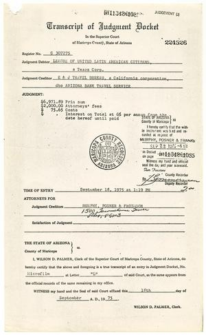 Primary view of object titled '[Transcript of Judgement Docket, E & J Travel Bureau dba Arizona Bank Travel Service vs. LULAC, 1975-09-18]'.