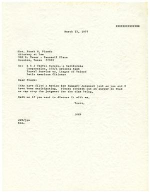 Primary view of object titled '[Letter from John J. Herrera to Frank M. Pinedo - 1977-03-15]'.