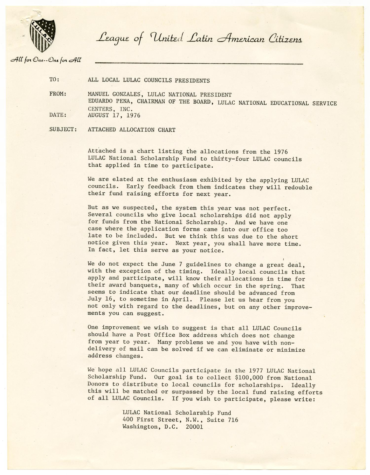 [Memorandum from Manuel Gonzales to all LULAC Council Presidents -  1976-08-17] - The Portal to Texas History