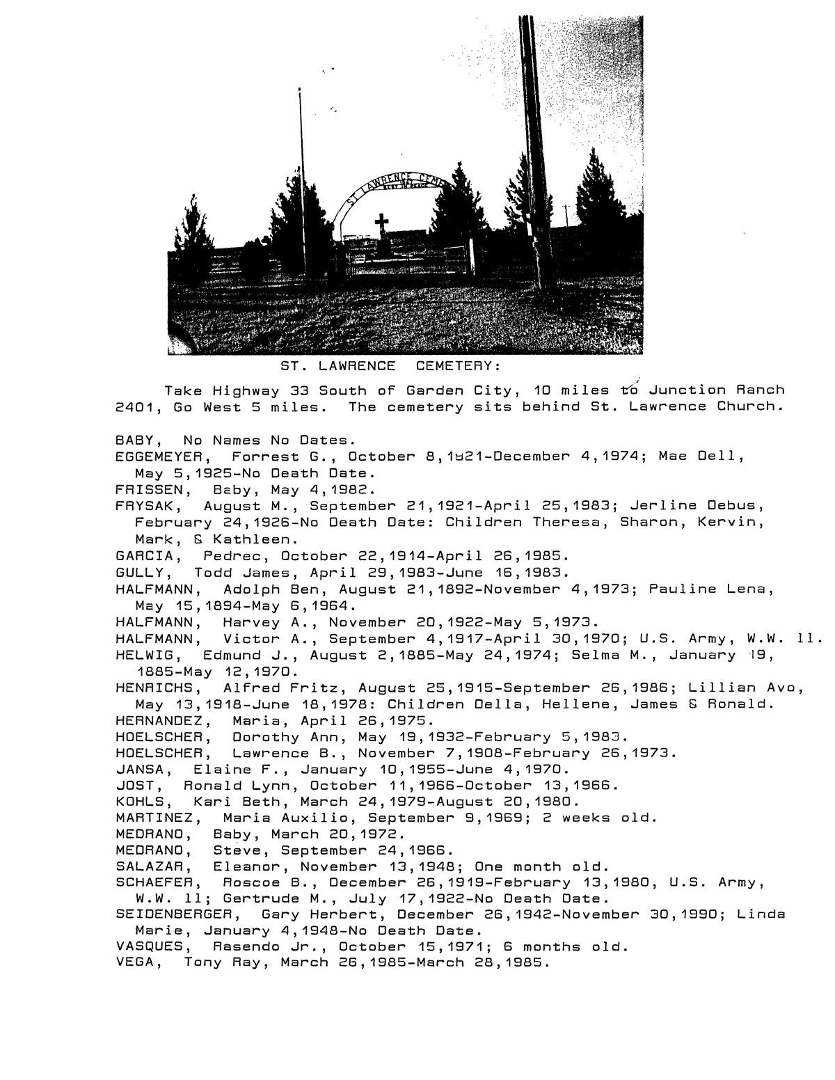 Glasscock County Cemeteries, 1890 - 1992                                                                                                      8