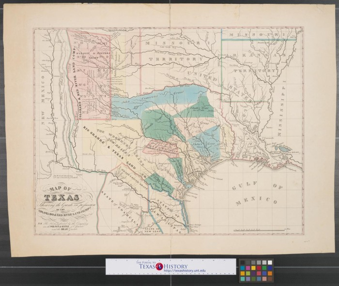 Map of Texas shewing [sic.] the grants in possession of the ... Map Grants on