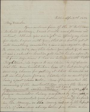 Letter to Cromwell Anson Jones, 1 April 1876