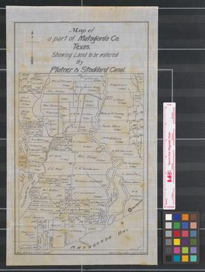 Primary view of object titled 'Map of a part of Matagorda Co. Texas : showing land to be watered by Plotner & Stoddard canal.'.
