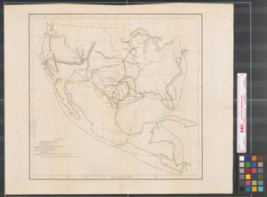 Primary view of object titled '[Map of United States military posts and connecting transportation routes prior to 1846].'.