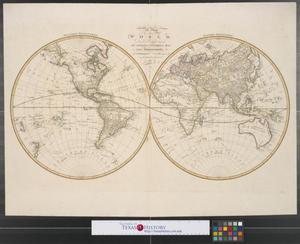 Primary view of object titled 'A new map of the world : drawn & engraved from D'Anville's two sheet map with improvements for I. Harrison, No. 115 Newgate Street, as the Act directs, Dec. 1st, 1788.'.