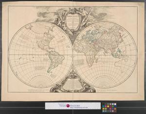 Primary view of Orbis vetus in utrâque continente : juxtà mentem Sansonianam distinctus, nec non observationibus astronomicis redatus.