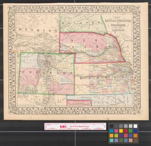 Primary view of object titled 'Map of Kansas, Nebraska and Colorado : showing also the southern portion of Dacotah'.