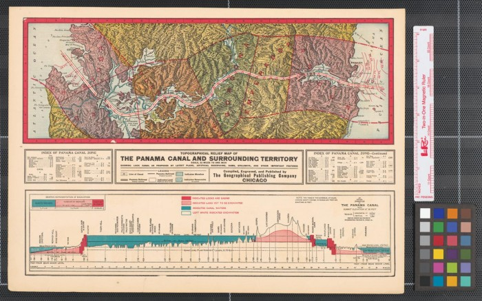 Topographical Relief Map Of The Panama Canal And Surrounding