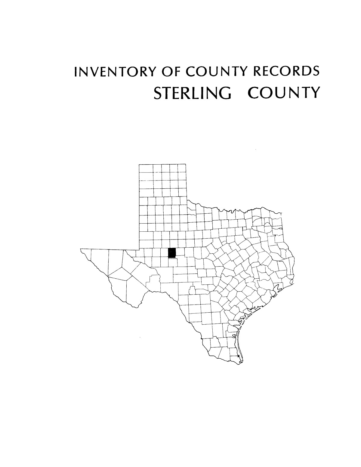 Inventory of county records, Sterling County Courthouse, Sterling City, Texas                                                                                                      Front Cover