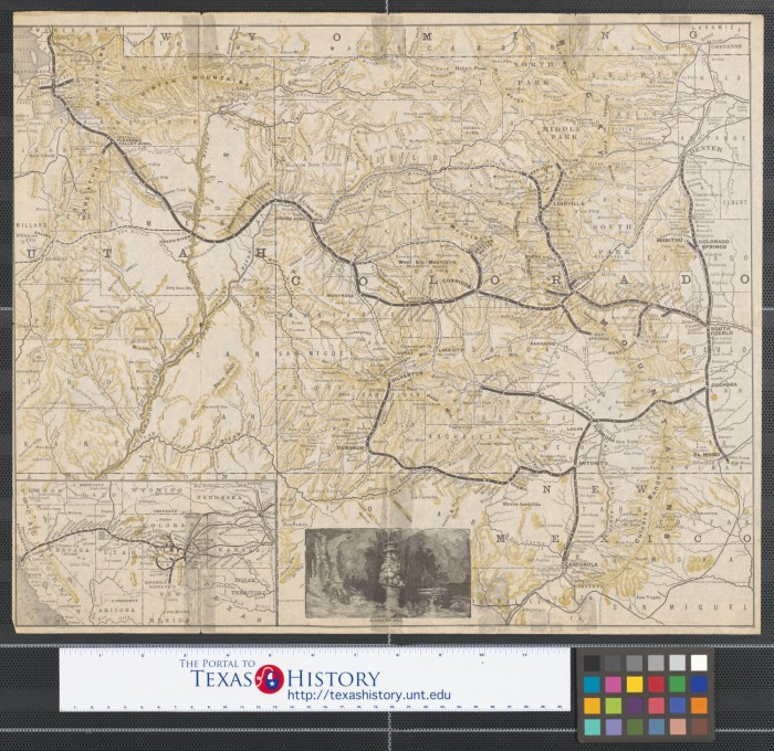 Map of railroad lines through the mountains of Utah, Colorado, and ...