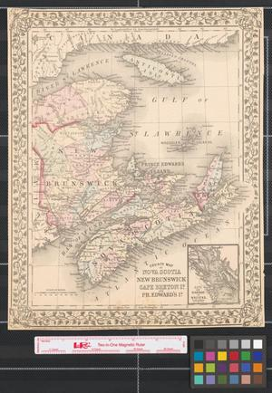 Primary view of object titled 'County map of Nova Scotia, New Brunswick, Cape Breton Id., and Pr. Edward's Id.'.