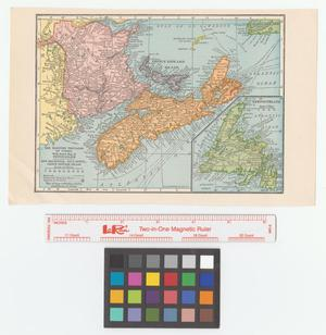 Primary view of object titled 'The Maritime Provinces of Canada with insert map of Newfoundland: New Brunswick, Nova Scotia, Prince Edward Island.'.