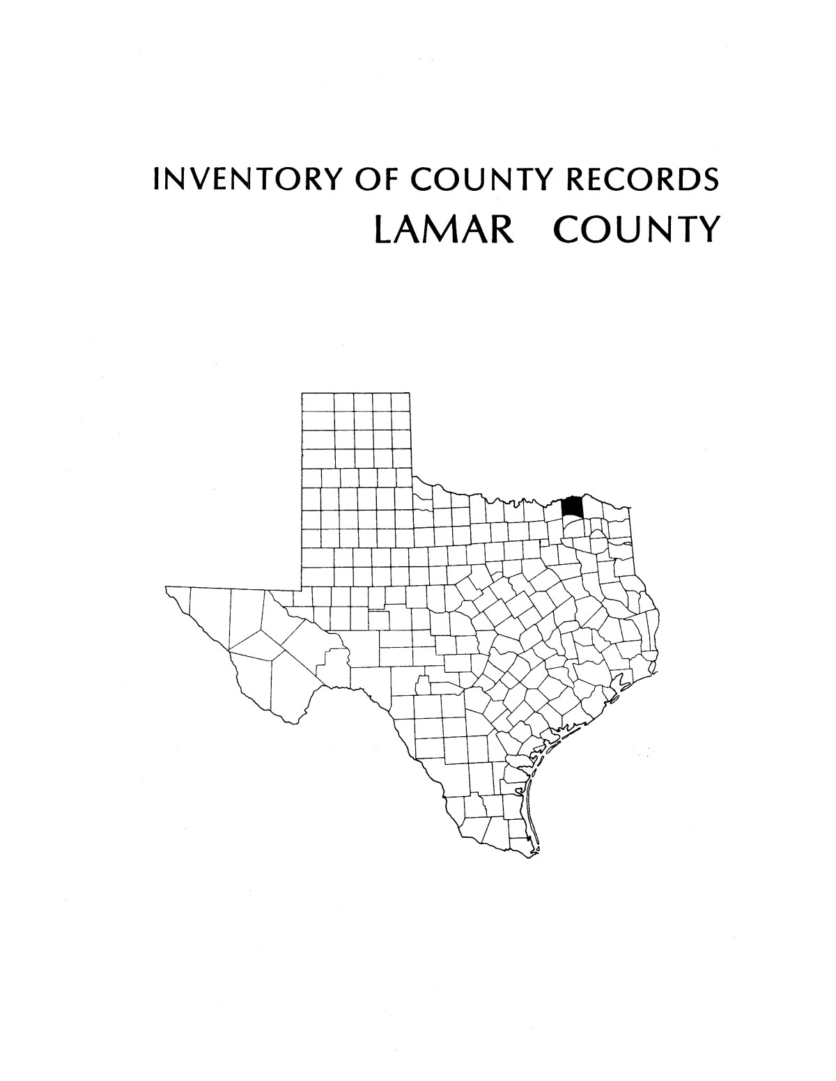 Inventory of county records, Lamar County Courthouse ...