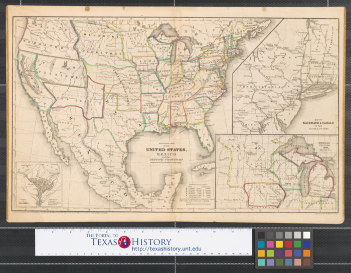 Political map of the United States, Texas, Mexico and the British ...