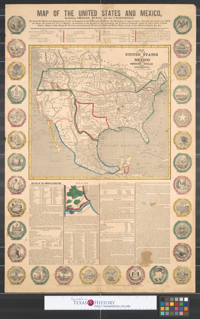United States Map Oregon.Map Of The United States And Mexico Including Oregon Texas And The