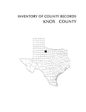 Primary view of object titled 'Inventory of county records, Knox County Courthouse, Benjamin, Texas'.