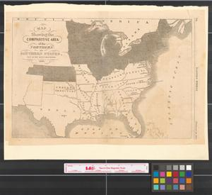 Primary view of object titled 'Map showing the comparitive area of the Northern and Southern states east of the Rocky Mountains, 1861.'.