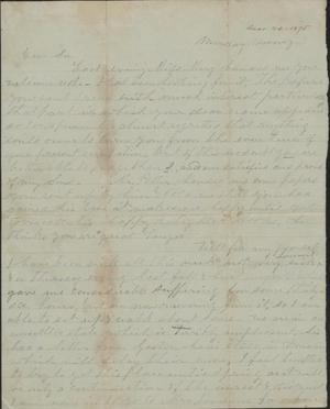 Primary view of object titled 'Letter to Cromwell Anson Jones, [20 December 1875]'.