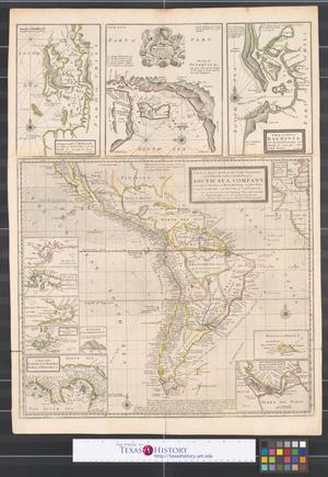 Primary view of A new & exact map of the coast, countries and islands within ye limits of ye South Sea Company: from ye River Aranoca to Terra del Fuego, and from thence through ye South Sea, to ye north part of California &c. with a view of the general coasting trade-winds, and particular draughts of the most important bays, ports, & c.